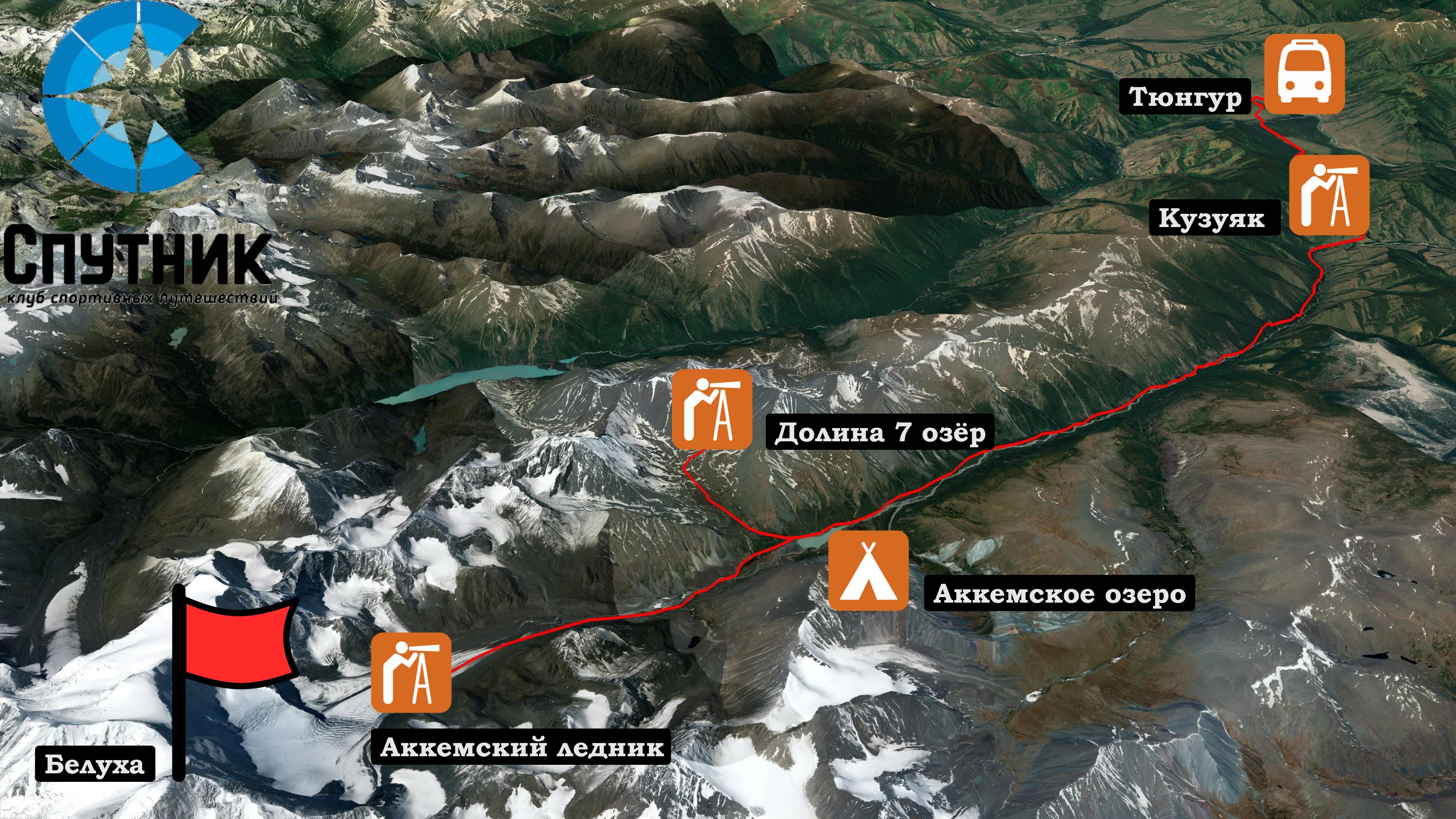 Карта похода под Белуху